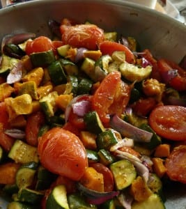 Roasted Summer Veggies with Goat Cheese