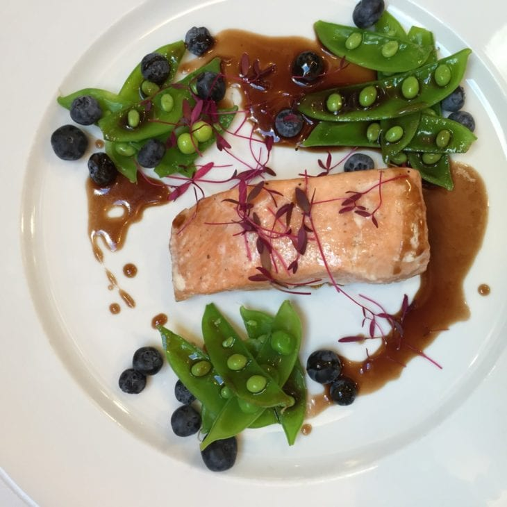 Amuse Salmon with Peas and Blueberrie