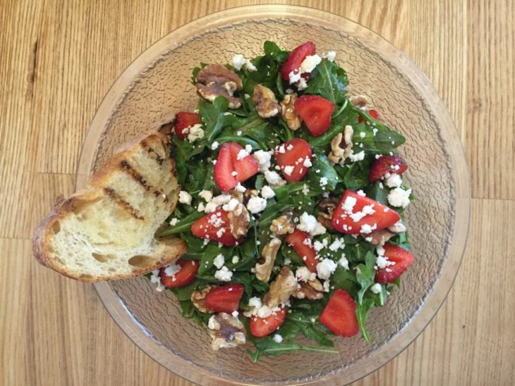 Luna Cafe Arugula Strawberry Walnut and Feta Salad