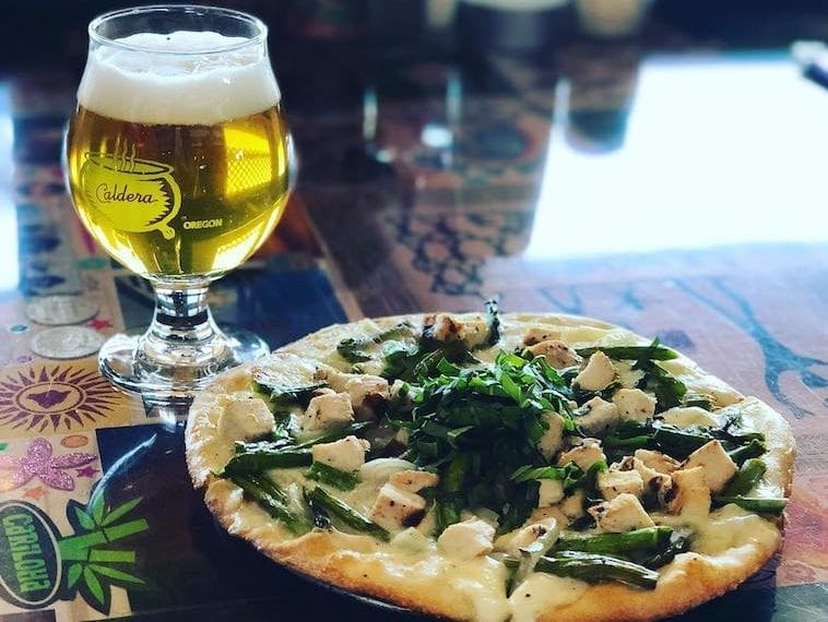 Caldera Brewing Grilled Chicken, Asparagus and Mushroom Pizza