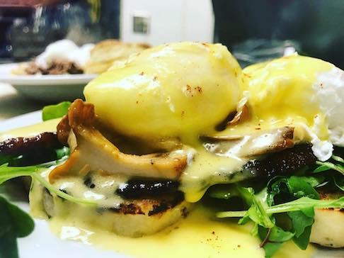 Ma Mosas Bacon Chanterelle and Arugula Eggs Benedict