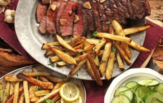 local meat farms plate of steak and fries