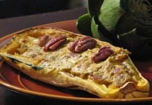 Delicata Squash with Goat Cheese and Pecans